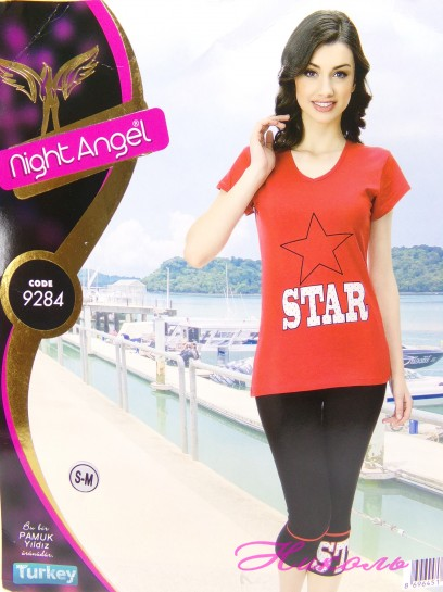 Комплект Night Angel 9284 (хлопок) капри, Турция L/XL, S/M