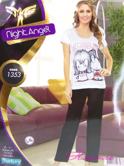 Комплект Night Angel 1353 норма (хлопок) штаны, Турция L/XL, S/M