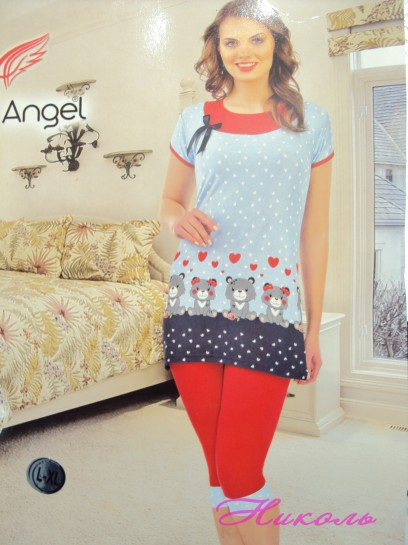 Комплект Night Angel 9245 (хлопок) капри, Турция L/XL, S/M